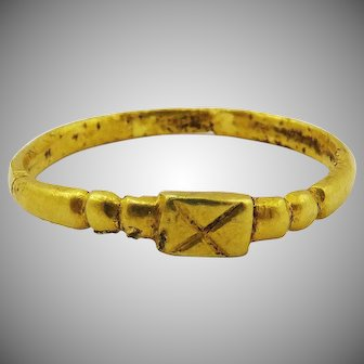 HIGHLY RARE Merovingian 23k Unisex Gold Ring, 1.33 grams, c.500 AD!