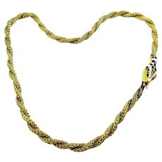 INTRICATE Enameled Ourboros Serpent Necklace in 9k and Silver Gilt, c.1860!