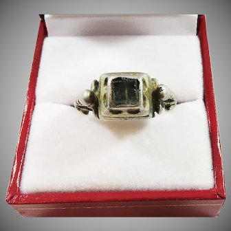 IMPORTANT Unisex Tudor Silver Gilt/Emerald Paste Decorative Ring, c.1560!