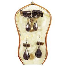 EXCEPTIONAL Victorian Smoky Quartz Demi-Parure, Earrings and Brooch in Original Fitted Box, c.1865!