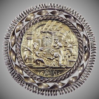 EARLY BAROQUE XL Silver/Silver Gilt Double-Sided & Dated Medal of the Nativity Set in Georgian Brooch, 1632/1790!