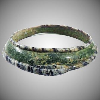 GLORIOUS XL Medieval Islamic Trailed Glass Bangle Bracelet, c.1300 AD!