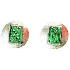 ROARING 20s Untreated Jadeite/Sterling Gilt Clip Earrings, c.1925!