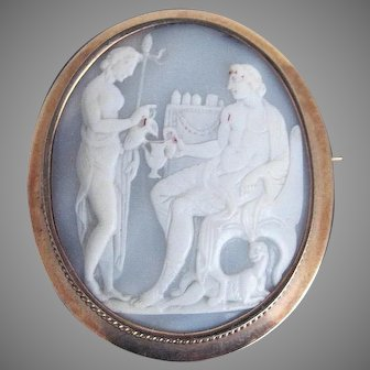 RARE XL NEOCLASSICAL Oyster Shell Cameo of Bacchante Serving Dionysus, Set in 14k Pendant/Brooch, c.1800/1920!