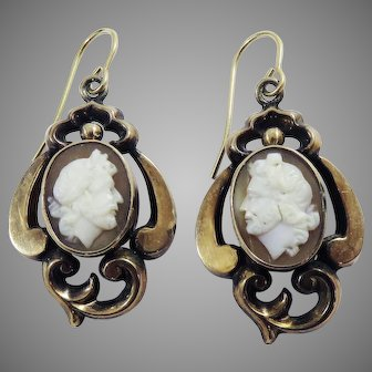 TOP QUALITY Mid-Victorian Shell Cameo/14k Earrings, Rare Subject, c.1860!