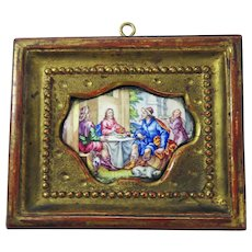 BEAUTIFUL Florentine Miniature Enamel on Copper Painting of Jesus at Table in Original Frame, c.1680!