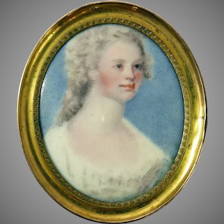 FABULOUS Georgian Enamel on Copper Miniature of a Lady of Fashion, c.1780!