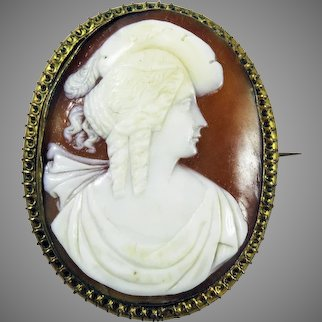 SPLENDID Late Georgian Cameo of a Lady of Fashion in Pinchbeck Brooch, c.1830!