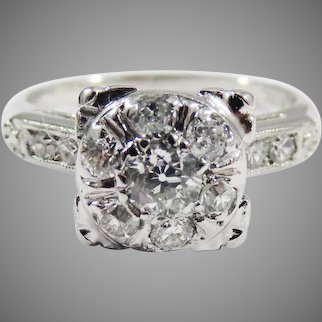 CLASSIC Edwardian .86 Ct. TW OMC Diamond/Platinum Ring, c.1915 w/GIA Valuation of $2,900.00!