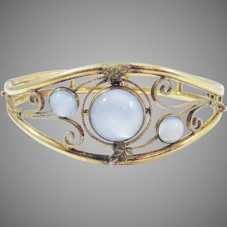 EXQUISITE Edwardian Moonstone/10k Bracelet, c.1910!