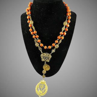 MASTERPIECE Italian Coral/20k Rosary w/20k Marian Monogram and Monstrance w/Relic, c.1750!