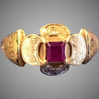 MASTERPIECE Important & Wearable Renaissance Enamel/Ruby/22k Ring, c.1525!
