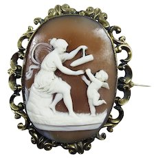 "EXQUISITE Early Victorian Bull's Mouth Cameo Brooch, ""The Playful Venus,"" c.1850!"