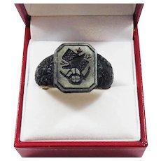 RAREST Georgian-Era Berlin Ironwork Trophy Ring w/Original Gilt Liner, c.1815!