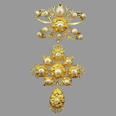 SUPERB & PRISTINE Early Dutch Pearl/20k Sevigne Bow and Cross Pendant, c.1700!