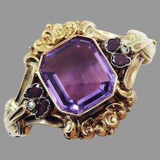 ULTIMATE 47.78 Ct. Amethyst/Garnet/Seed Pearl/14k Rose Gold Bracelet, c.1855!