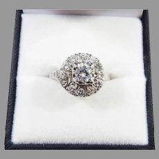 MAGICAL Art Deco .95 Ct. TW Diamond/14k Cluster Ring w/GIA Valuation of $3,600.00, c.1935!