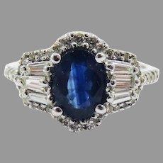 LUSCIOUS Late Art Deco 1.93 Ct TW Untreated Sapphire/Diamond Dress Ring w/GIA Valuation of $5,250.00, c.1935!