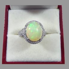 TOP-QUALITY 5.24 Ct TW Solid Opal/Diamond/14k Ring w/GIA Valuation of $4,150.00!