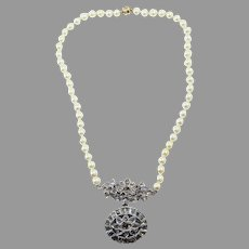 ONE-OF-A-KIND 4.3 Ct TW Diamond/18k/Pearl/14k Indian Wedding Necklace w/GIA Valuation of $6,000.00, c.1950!