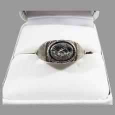 ANCIENT ROMAN Silver Signet Ring w/Engraved Intaglio of Apollo, c.250 AD!
