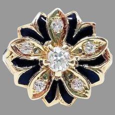 EXQUISITE Late Victorian 1/2 Ct TW OMC Diamond/Enamel/14k Flower Motif Ring, 7.36 Grams, c.1900!