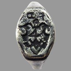 RARE TUDOR-ERA Silver Armorial Signet Ring w/Initials & House Mark, c.1550!