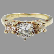 ENGAGING .78 Ct TW OMC Diamond Trilogy/14k Ring w/GIA Valuation of $2,500.00!