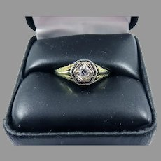 SUBLIME Hand-Wrought OEC Diamond Solitaire/14k Ring w/GIA Valuation of $2,000.00, c.1920!