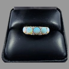 LUMINOUS Edwardian 2.25 Ct TW Five Black Crystal Opal/Diamond/14k Ring, c.1910!