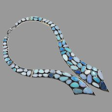 RUNWAY-WORTHY Estate Custom-Made Australian Opal/Sterling Necklace w/80 Opals!