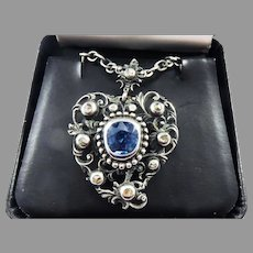 DAZZLING Georgian 3.2 ct. TW Blue Spinel/Diamond/Sterling Witches Heart Necklace,  c.1760!