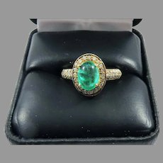 PRISTINE Estate 2.15 Ct TW Emerald Cabochon/Diamond/14k Ring w/GIA GG Valuation of $3,595.00!