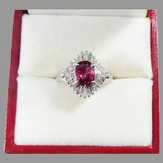 TOP QUALITY Estate 1.38 Ct TW Ruby/Diamond/Platinum Ring w/GIA Valuation of $3,595.00!