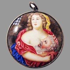 GLORIOUS Stuart Enamel Double-Sided Pendant, Legend of Pero and Cimon, c.1680!