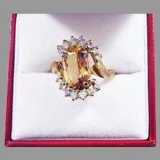 OUTSTANDING Estate 4.07 TW Imperial Topaz/Diamond/14k Ring w/GIA Valuation of $5,900.00!