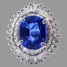 TO DIE FOR 4.23 Ct TW Unheated Sapphire/Diamond/Platinum Ring w/GIA Valuation for $12,500.00!