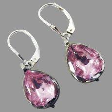 PRETTY IN PINK! RARE Georgian Pink Foiled Rock Crystal/Sterling Earrings, c.1775!