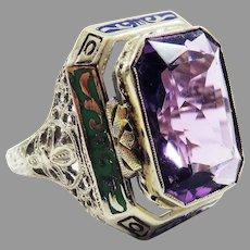 WOWEE! Jazz Age Amethyst/Enamel/White and Gold 14k Dress Ring, c.1920!