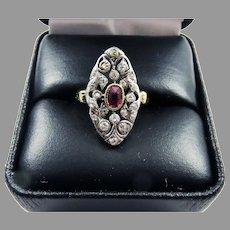 SPARKLING 1.07 Ct TW Belle Epoque Ruby/OMC Diamond/14k Ring, c.1890, w/GIA Valuation of $3,500.00!