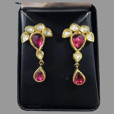 OUTSTANDING 5.59 Ct. TW Mughal Diamond/Tourmaline/Enamel 22k Earrings, c.1870, w/GIA Valuation of $4,000.00!