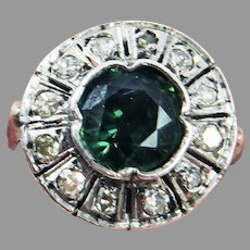 ENVIABLE 2.54 Ct. TW Untreated Teal Green Sapphire/Diamond/14k Ring. c.1920, w/GIA Valuation of $5,000.00!