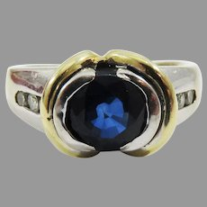 WONDERFUL Unisex Estate 2.08 Ct. TW Sapphire/Diamond/Two-Color 14k Ring w/GIA Valuation of $3,600.00!