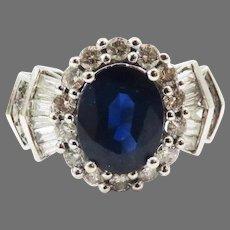 TOP QUALITY Estate 3.26 Ct. TW Sapphire/Diamond/14k Dress Ring w/GIA Valuation of $5,000.00!