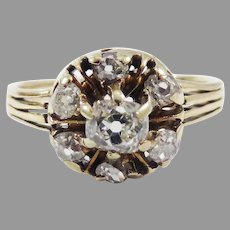 CLASSIC Victorian .68 Ct. TW OMC Diamond/14k Cluster Ring, c.1880, w/GIA Valuation of $3,500.00!