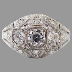 MAGICAL .76 Ct TW Antique Diamonds in Edwardian-Style 14k & Diamond Setting w/GIA Valuation of $3,500.00!