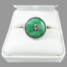 """LOVELY Untreated """"Moss in Snow"""" Jadeite/Sterling Silver Ring, c.1915!"""