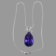 RUNWAY-WORTHY Estate 30.59 Ct. TW Amethyst/Diamond/14k Necklace w/GIA Valuation of $4,000.00!