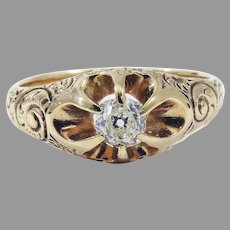 STUNNING Unisex Belcher-Set Victorian .30 Ct. OMC Diamond Solitaire Ring, c.1885!