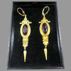 "DRAMATIC 3 1/4"" Victorian 12.7 Ct. TW Amethyst/GF/14k Drop Earrings, c.1875!"